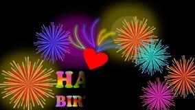 Tabellone per le affissioni animato di buon compleanno con il fuoco d'artificio, l'iscrizione variopinta e le piccole stelle su f illustrazione di stock