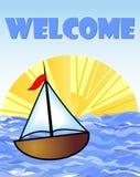 Tabellone per le affissioni benvenuto con una barca e un sole illustrazione vettoriale