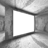 Tabellone per le affissioni in bianco leggero dell'insegna in interio scuro della stanza dei mura di cemento Immagini Stock