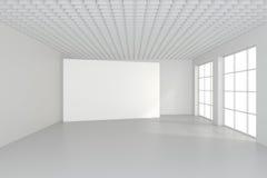 Tabellone per le affissioni in bianco orizzontale nella stanza bianca rappresentazione 3d Immagini Stock Libere da Diritti