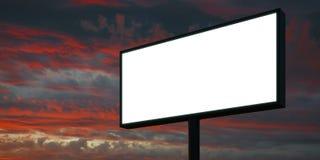 Tabellone per le affissioni in bianco a tempo di tramonto pronto per la pubblicità 3d rendono Immagine Stock Libera da Diritti