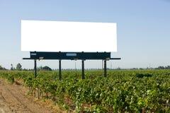 Tabellone per le affissioni in bianco in una vigna Immagini Stock