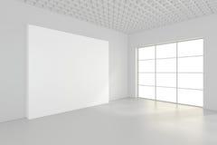 Tabellone per le affissioni in bianco vuoto nell'interno bianco rappresentazione 3d Fotografia Stock