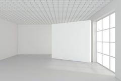 Tabellone per le affissioni in bianco vuoto nell'interno bianco rappresentazione 3d Immagine Stock Libera da Diritti