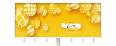 Tabellone per le affissioni con il manifesto delle vacanze di Pasqua felici Insegna creativa nel colore giallo minimalistic d'ava royalty illustrazione gratis