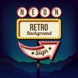 Tabellone per le affissioni d'annata della strada di pubblicità con le luci Retro segno 3d Fotografia Stock Libera da Diritti
