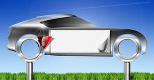 Tabellone per le affissioni del metallo dell'automobile con la freccia rossa Fotografie Stock