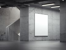 Tabellone per le affissioni dell'interno luminoso in bianco sulle pareti grige, rappresentazione 3d illustrazione di stock