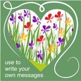 Tabellone per le affissioni della primavera con cuore ed i fiori variopinti illustrazione di stock