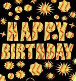 Tabellone per le affissioni di buon compleanno con l'iscrizione multicolore di lerciume Fotografie Stock