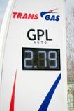Tabellone per le affissioni di prezzi di gpl del gas del trasporto Fotografie Stock