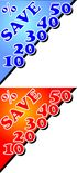 Tabellone per le affissioni di sconto con l'etichetta delle percentuali royalty illustrazione gratis