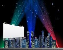 Tabellone per le affissioni nella città di notte illustrazione di stock