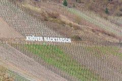 Tabellone per le affissioni nelle vigne con l'iscrizione Kröver Nacktarsch Fotografie Stock Libere da Diritti