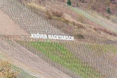 Tabellone per le affissioni nelle vigne con l'iscrizione Kröver Nacktarsch Fotografia Stock