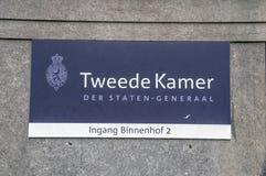 Tabellone per le affissioni Tweede Kamer Der Staten-Generaal al Ingang Binnenhof 2 a Den Haag The Netherlands 2018 fotografia stock libera da diritti