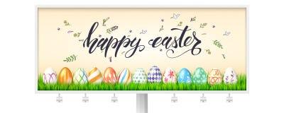 Tabellone per le affissioni per le vacanze di Pasqua felici Uova decorate in erba verde su fondo di testo scritto a mano, disegno illustrazione di stock