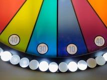 Tabellone segnapunti di carnevale con le luci d'ardore Immagine Stock