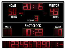 Tabellone segnapunti di pallacanestro Fotografie Stock