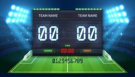 Tabellone segnapunti elettronico di sport dello stadio con l'esposizione di tempo di calcio e di risultato della partita di calci royalty illustrazione gratis