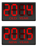 Tabellone segnapunti elettronico vecchio e l'illustrazione di vettore del nuovo anno Fotografie Stock Libere da Diritti