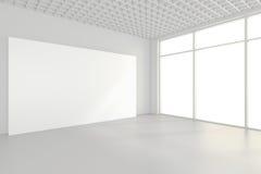 Tabelloni per le affissioni in bianco interni che stanno sul pavimento nella stanza bianca rappresentazione 3d Immagini Stock Libere da Diritti