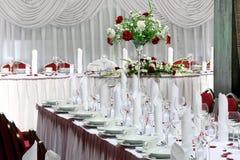 Tabelluppsättning för händelseparti eller bröllopmottagande Fotografering för Bildbyråer