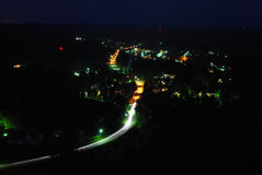 Taberg. A village at night from above Royalty Free Stock Photography