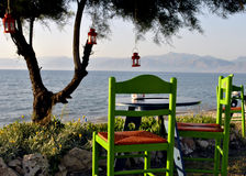 Taberna grega litoral Fotografia de Stock