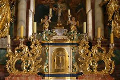 Tabernacle on the altar in church of the Holy Trinity in Krasic, Croatia Royalty Free Stock Photos