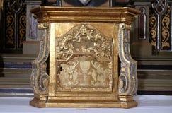 Tabernacle. On the altar of the Virgin Mary in the church of Saint Martin in Sv. Martin pod Okicem, Croatia Stock Photos