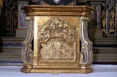 Tabernacle. On the altar of the Virgin Mary in the church of Saint Martin in Sv. Martin pod Okicem, Croatia Royalty Free Stock Images