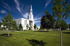 Tabernacle of the Latter Day Saints, Ogden, Utah. Front of the Tabernacle of the Latter Day Saints in Ogden, Utah against blue skies on sunny day stock image