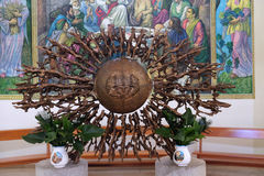 The tabernacle on the main altar of the Mother Teresa cathedral in Vau i Dejes, Albania Royalty Free Stock Photography