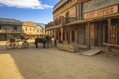 TABERNAS DESERT, ALMERIA ANDALUSIA / SPAIN - SEPTEMBER 18, 2011: Tabernas desert, post office movie location spaghetti western An. TABERNAS DESERT, ALMERIA stock photo
