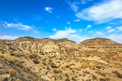 Tabernas desert mountains, Andalusia, Spain. Tabernas desert mountains, in spanish Desierto de Tabernas. Europe only desert. Almeria, andalusia region, Spain Stock Photo