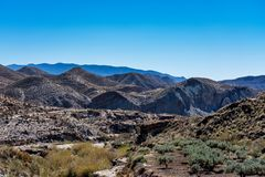Tabernas desert, in spanish Desierto de Tabernas, Andalusia, Spain royalty free stock photo