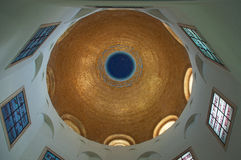 Tabgha, Israel, Middle East, Church of the Beatitudes, Holy Land, pilgrimage, Sermont on the Mount, dome. The interior of the golden dome of the Church of the Royalty Free Stock Photography