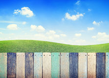 Tablón de madera colorido con el cielo azul y la hierba claros foto de archivo