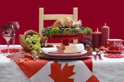 Tabla canadiense de la acción de gracias del tema Fotos de archivo libres de regalías