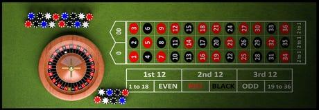 Tabla completa del casino con la ruleta stock de ilustración