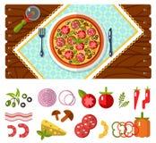 Tabla con los iconos de la pizza y de los ingredientes Imagen de archivo libre de regalías