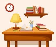 Tabla con los libros y la lámpara en ella, estante y el reloj Interior del vector Imagen de archivo libre de regalías