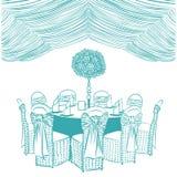 Tabla de banquete con las sillas stock de ilustración