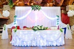 Tabla de banquete de la boda Imagen de archivo libre de regalías