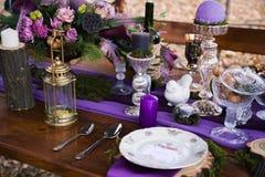 Tabla de cena de la decoración Imagen de archivo libre de regalías
