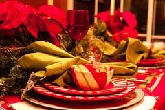 Tabla de cena de la Navidad Fotos de archivo libres de regalías