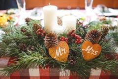 Tabla de cena de la Navidad Fotografía de archivo libre de regalías