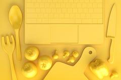 Tabla de cocina con los utensilios de cocinar y el ordenador portátil ilustración 3D Fotografía de archivo