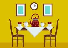 Tabla de cocina de la cocina con y servicio de té Fotos de archivo